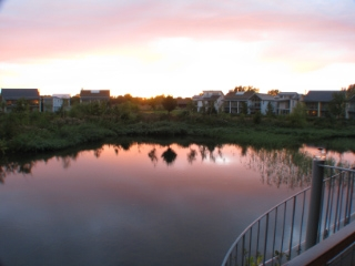 Evening View of Setting Sun over Clear Lake from 1st Flr Balcony.JPG